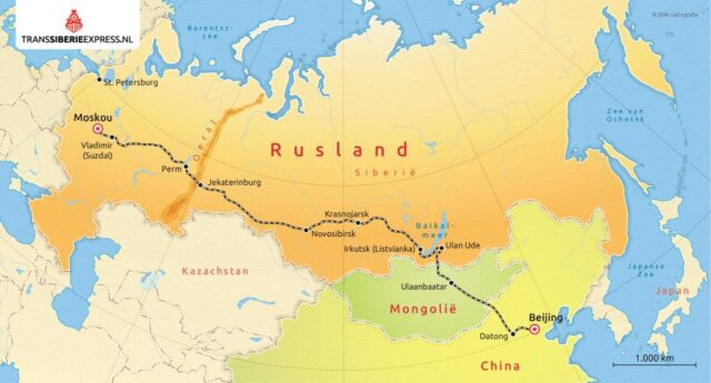 Route kaart Trans Mongolie Express start in Moskou_